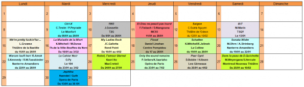 planning janvier